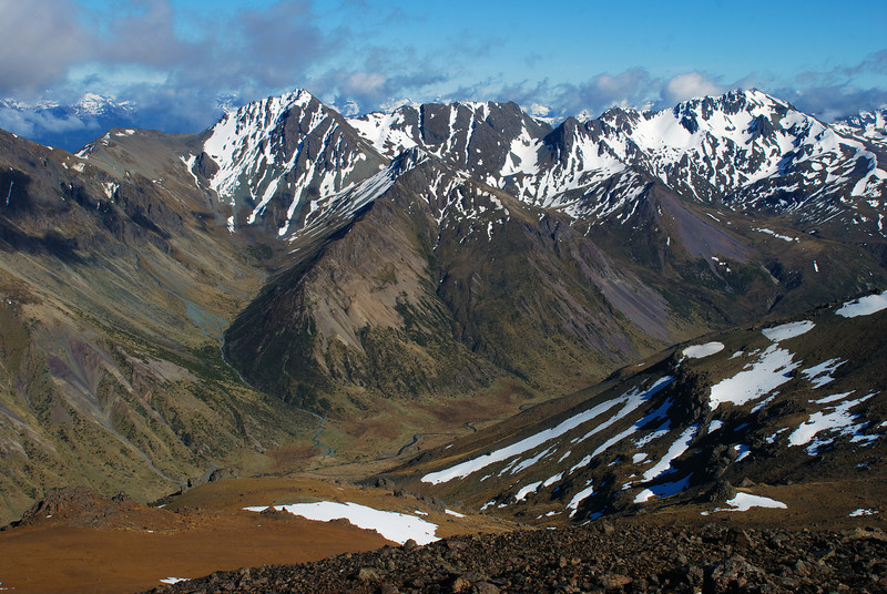 Upukerora River headwaters. The prominent peaks on the skyline are Winton Peak (left) and Countess Peak (right)