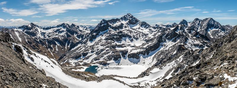 Ben Nevis, Mount Tuwhakaroria and Te Kārearea Peak from the saddle between Pt 2112m and Pt 2127m.