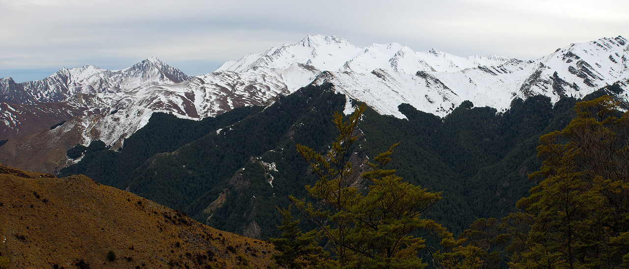 Corner Peak and Dingle Peak across the Timaru River from the track below Stodys Hut