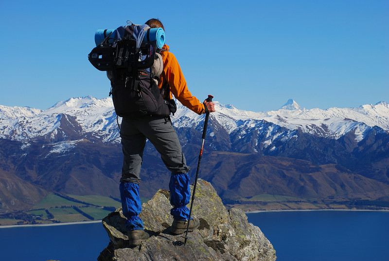Looking onto Lake Hawea. Mt Aspiring stands out on the right