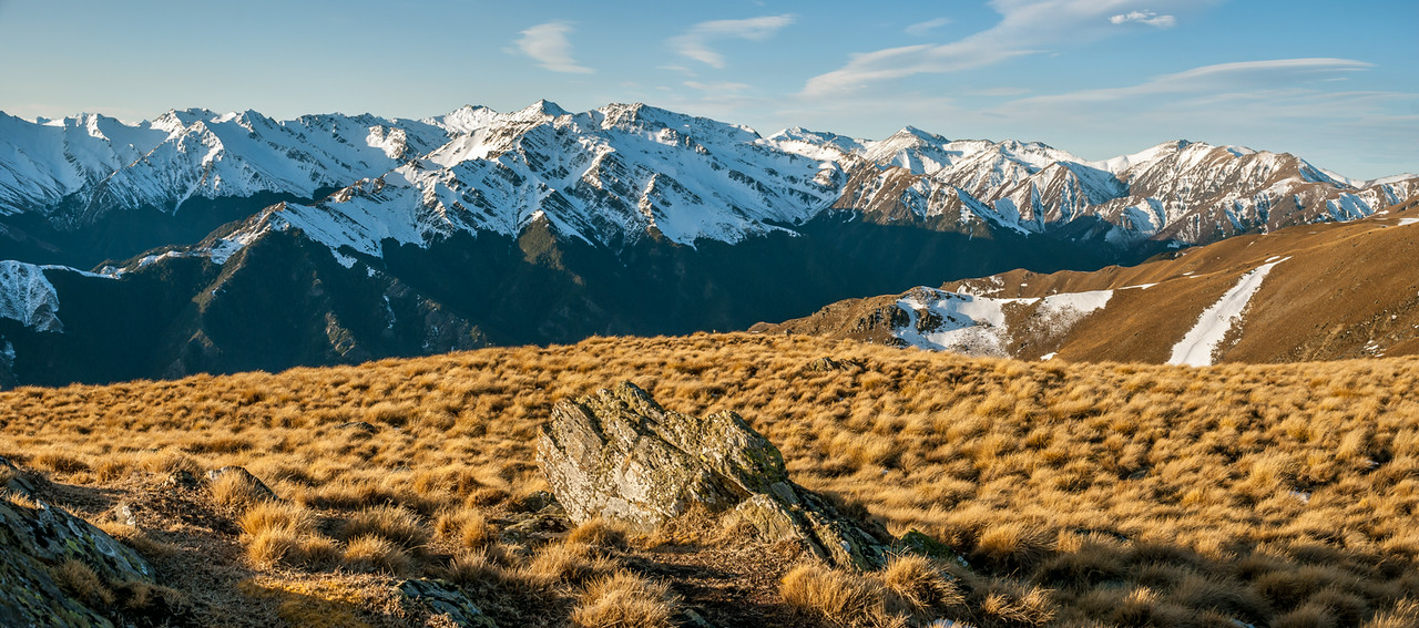 On the tops east of Breast Hill, looking across the Timaru River to Maungatika