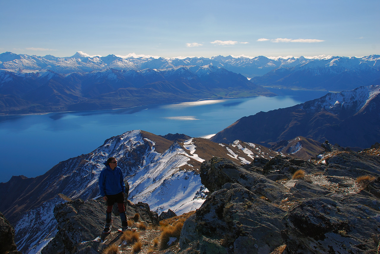 On the summit of Breast Hill. Lake Hawea and the Southern Alps in the background