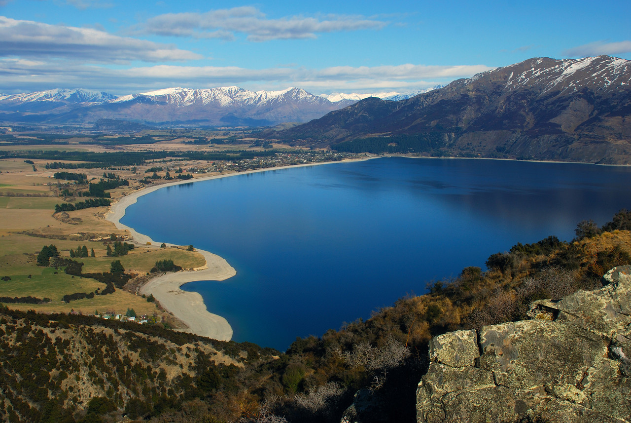 The southern end of Lake Hawea from Breast Hill Track. Mt Alpha and Roys Peak in the background