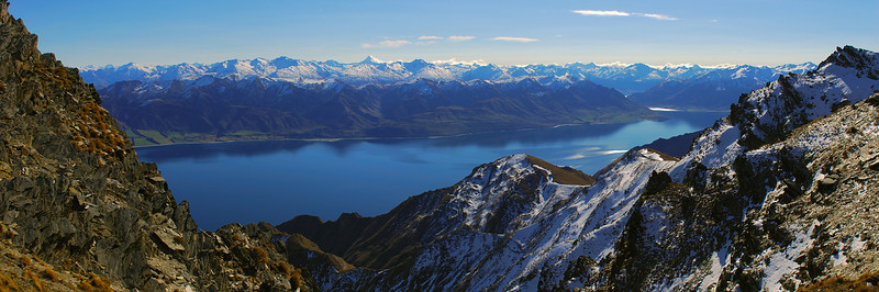 View of Lake Hawea and the Southern Alps from near the summit of Breast Hill