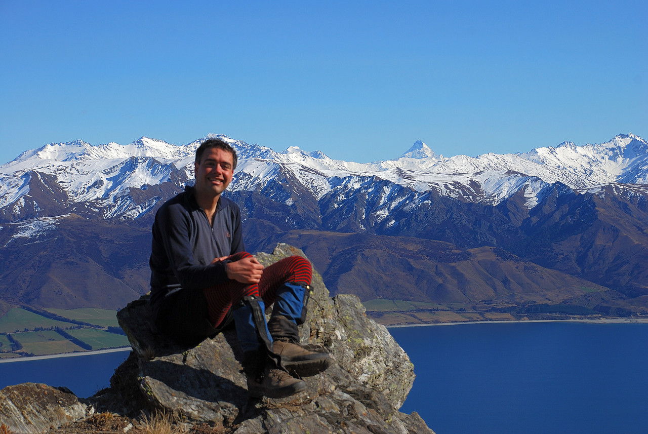 Overlooking Lake Hawea. Mt Alta and Mt Aspiring in the back