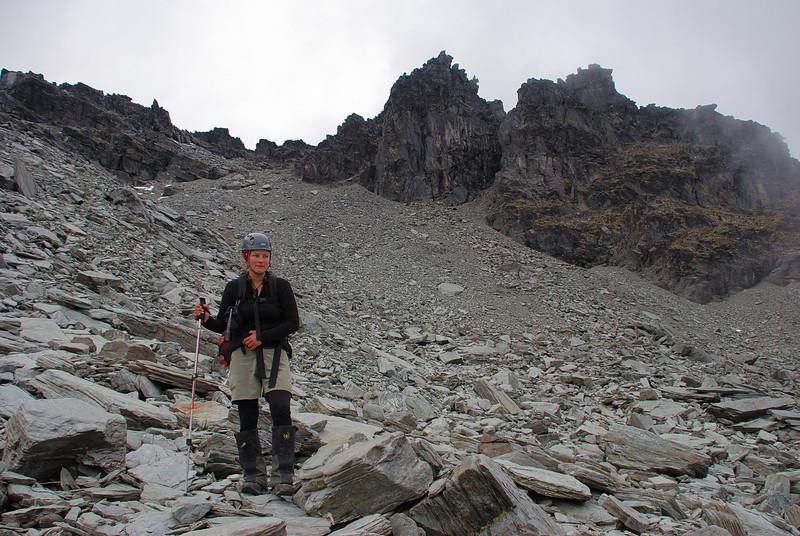 Nina below the summit of Cecil Peak