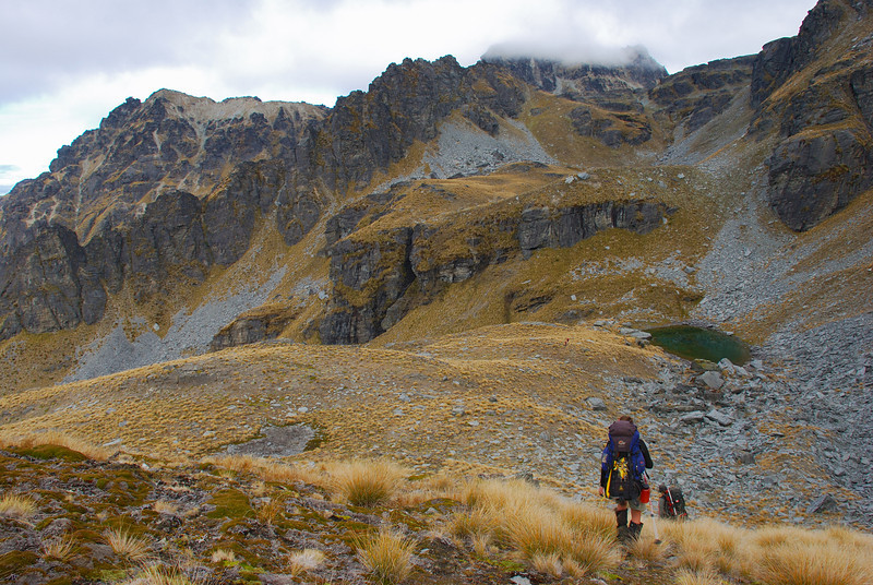 Approaching our campsite, at 1550m of elevation on the slopes of Cecil Peak. The summit is in cloud, to the right of centre image