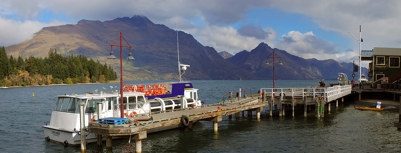 Queenstown wharf, with Cecil and Walter Peaks in the backdrop