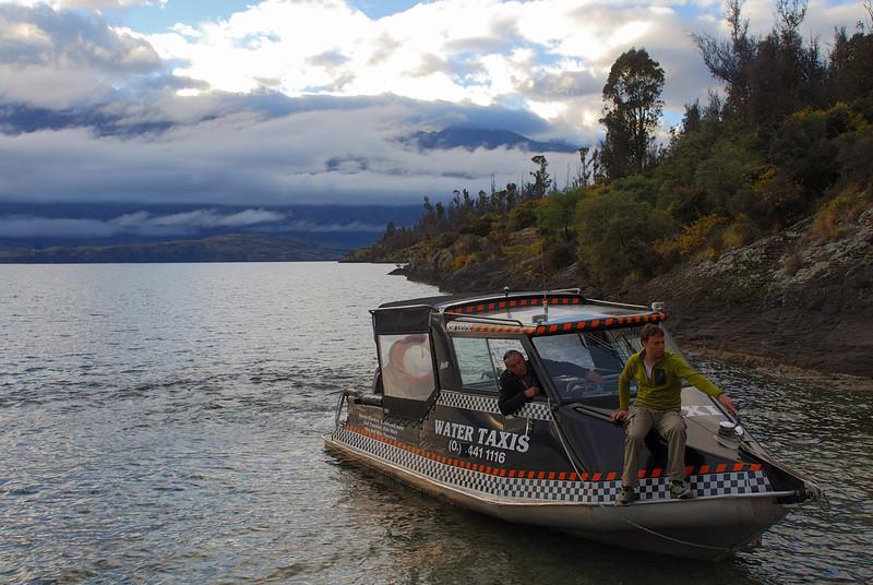Water taxi drop-off at Refuge Point, Lake Wakatipu