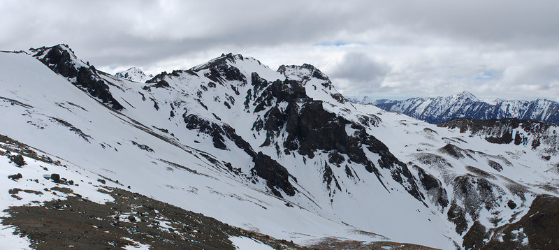 Mt Cerberus (back left), peak 1565 and Mt Campbell from the south