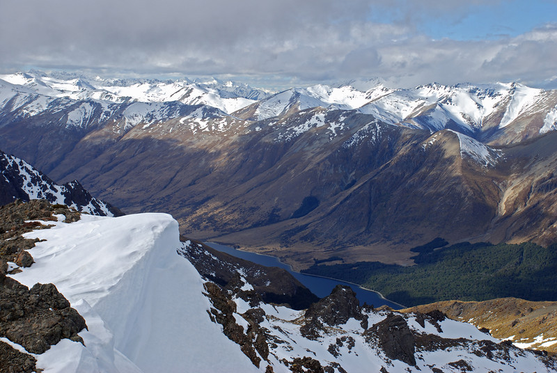 View from Mt Cerberus: North Mavora Lake and Thomson Mountains