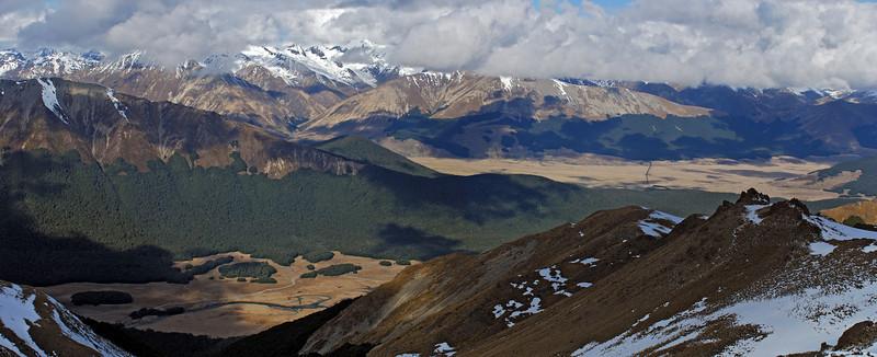 View from Mt Cerberus: Mararoa River, Oreti River and Eyre Mountains