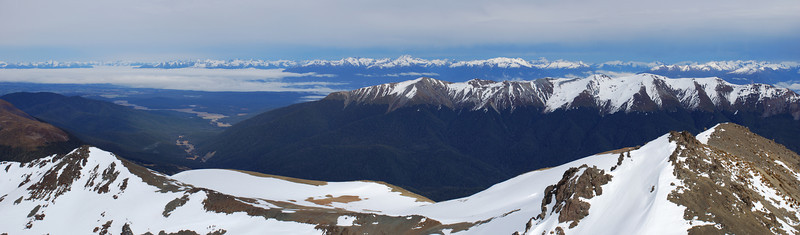 Looking west from Mt Richmond: Upukerora River, Dunton Range and the Fiordland Mountains on the horizon