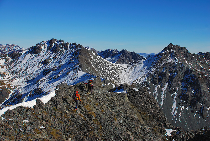On the south-west ridge of Clare Peak, Takitimu Mountains. Unnamed Peak 1540m left of centre image