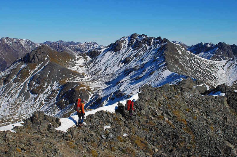On the south-west ridge of Clare Peak, Takitimu Mountains. Unnamed Peak 1540m at centre image