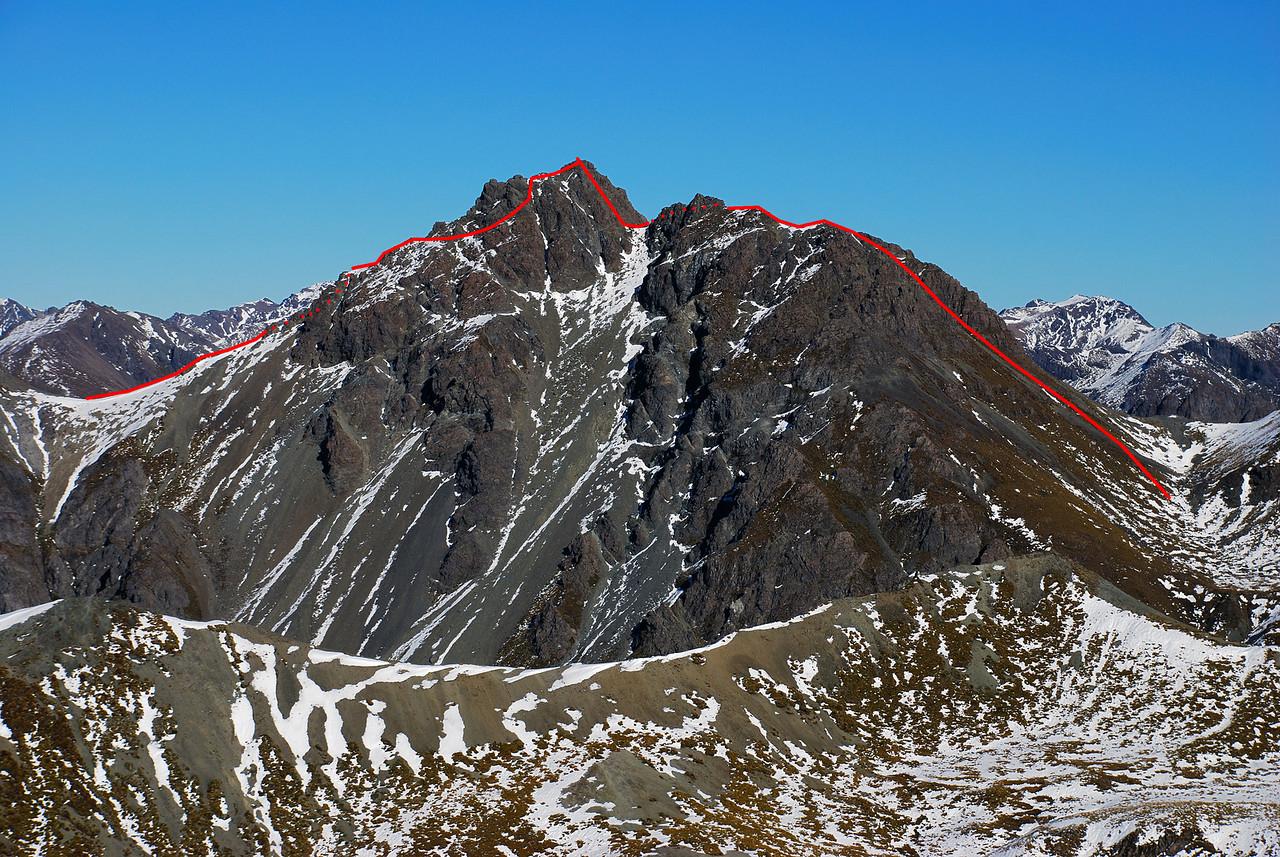 Route over Gladstone Peak, Takitimu Mountains