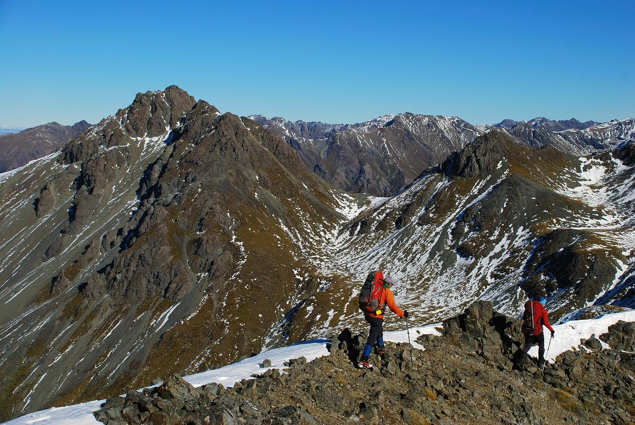 On the south-west ridge of Clare Peak, Takitimu Mountains. Gladstone Peak back left