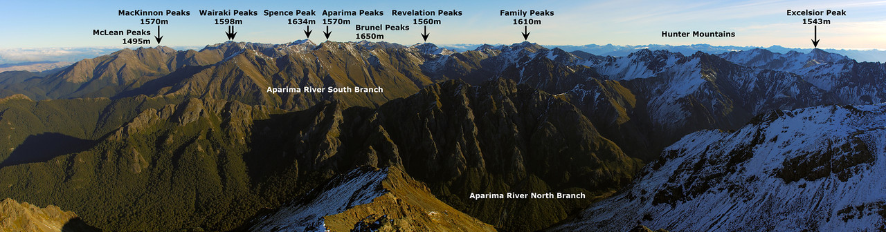 Takitimu Mountains panorama from Gladstone Peak