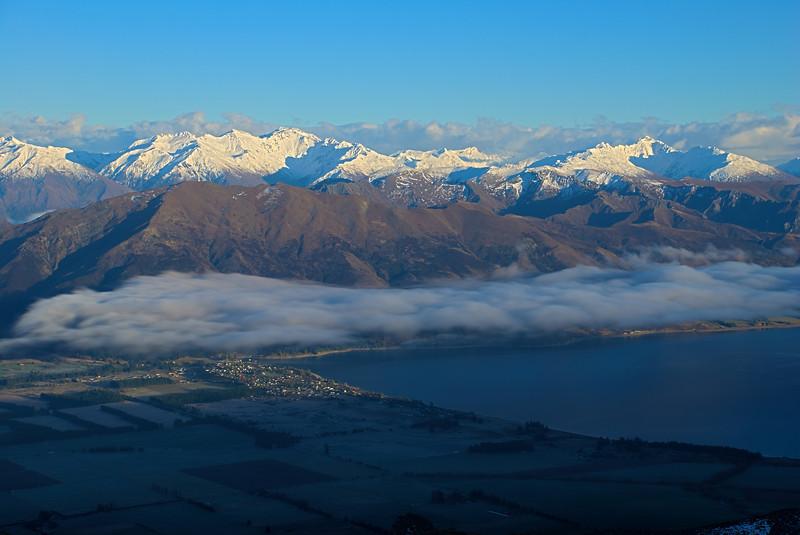 Mount Alta and the Minaret Peaks above Lake Hawea