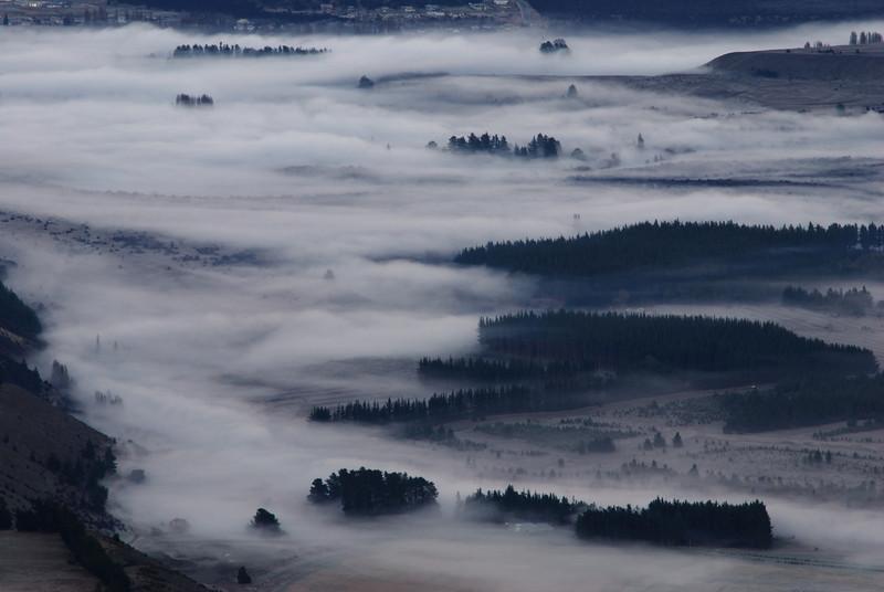 Fog over Hawea Flat