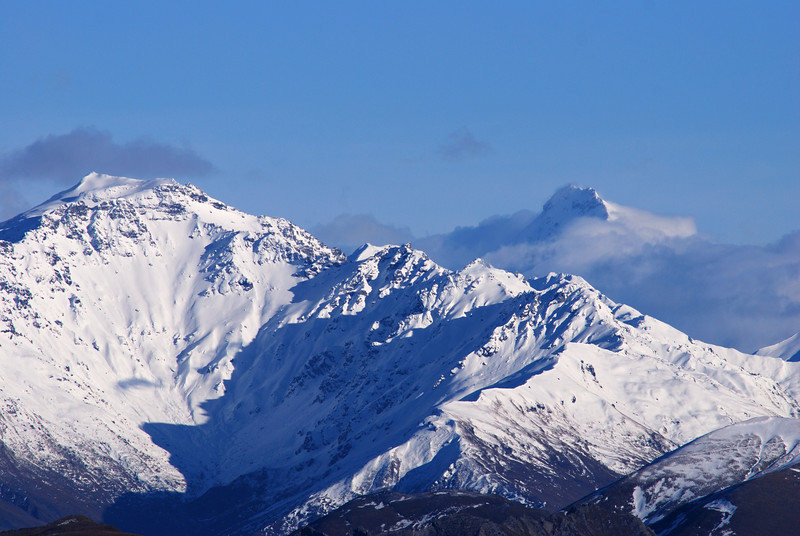 'At the head of Hawea, dist. about 40 miles, is a very lofty snowclad peak which I called Mt Aspiring' (J.T. Thomson, 18 December 1857). But Mt Aspiring doesn't have much to show from this angle!