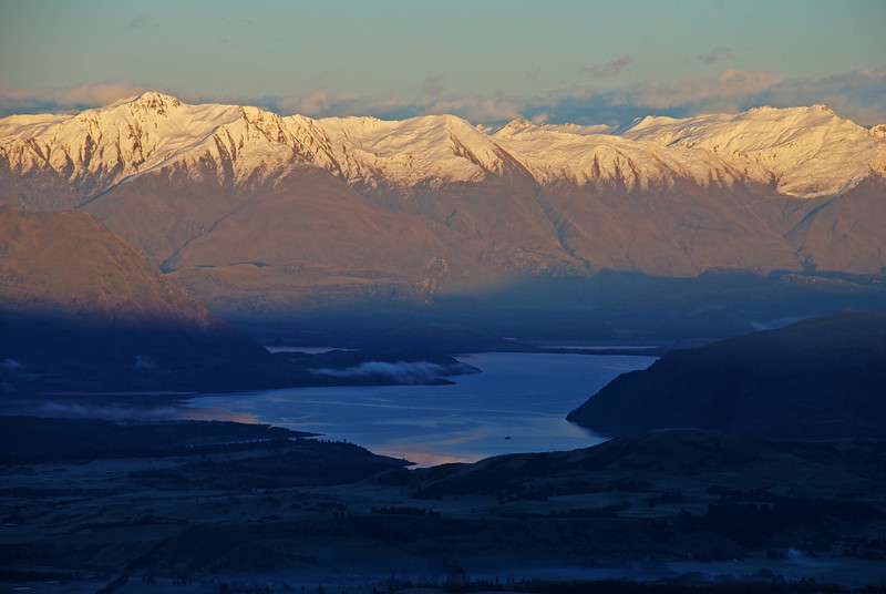 End Peak and Treble Cone at sunrise. Lake Wanaka is still in the shade