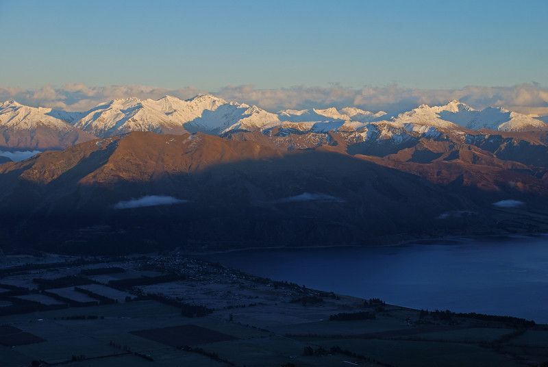 Mount Alta and the Minaret Peaks at sunrise. Lake Hawea is still in the shade