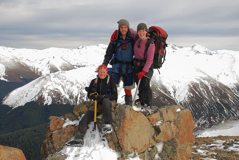 Three gorgeous people on the summit of pt 1552m. Helen Peaks behind