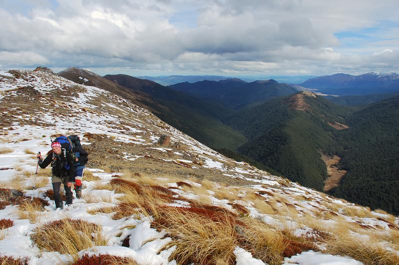 On Mount Bee ridge, looking into Cromel Stream