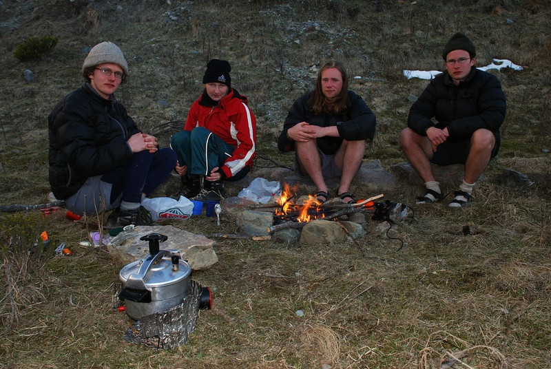 Gorge Burn campsite. Only George would carry a pressure cooker into the hills!