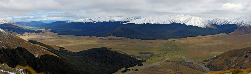 The Oreti River from the north-east shoulder of Smooth Peak. Mount Campbell to the right of centre image.