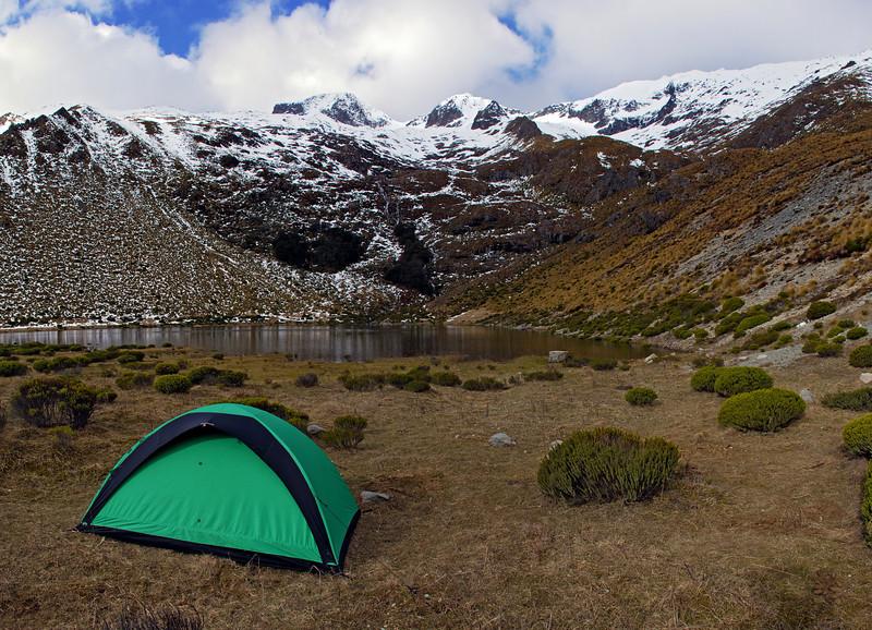 Gorge Burn campsite. Jane Peak on top right
