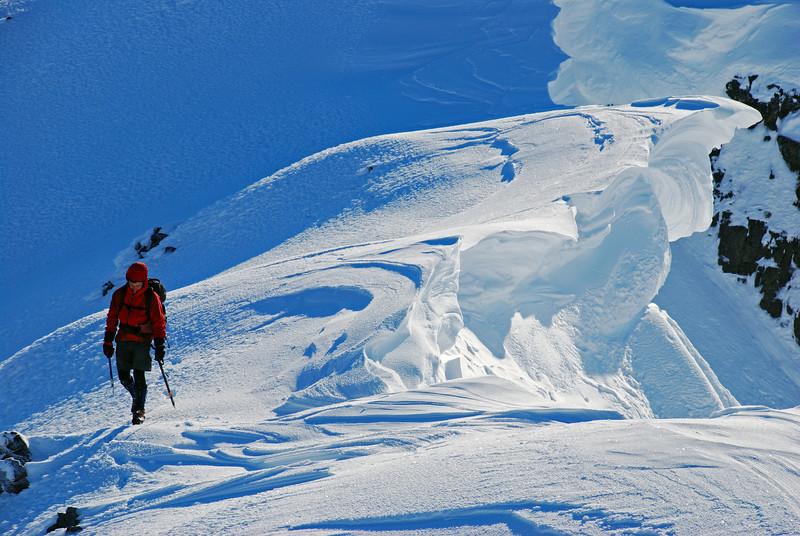 Large cornices on the south-west ridge of Jane Peak