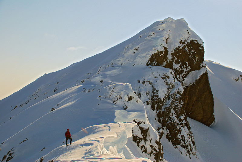 Descent route: looking back up the south-west ridge of Jane Peak