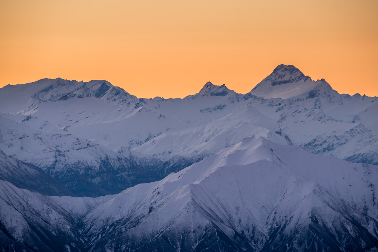 Rob Roy Peak, Mount Avalanche and Mount Aspiring from the tops between the Kirtle Burn and the Cliff Burn