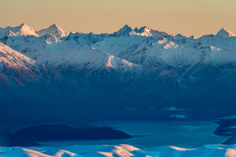 View from Mount Pisa: Mount Pollux, Mount Castor, the Minaret Peaks and Mount Aeolus above Lake Wanaka