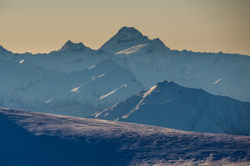 Mount Avalanche and Mount Aspiring from the tops above Kirtle Burn Hut