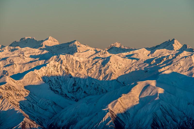 View from Mount Pisa: Mount Earnslaw, Mount Ferguson, Sir William Peak, Centaur Peaks