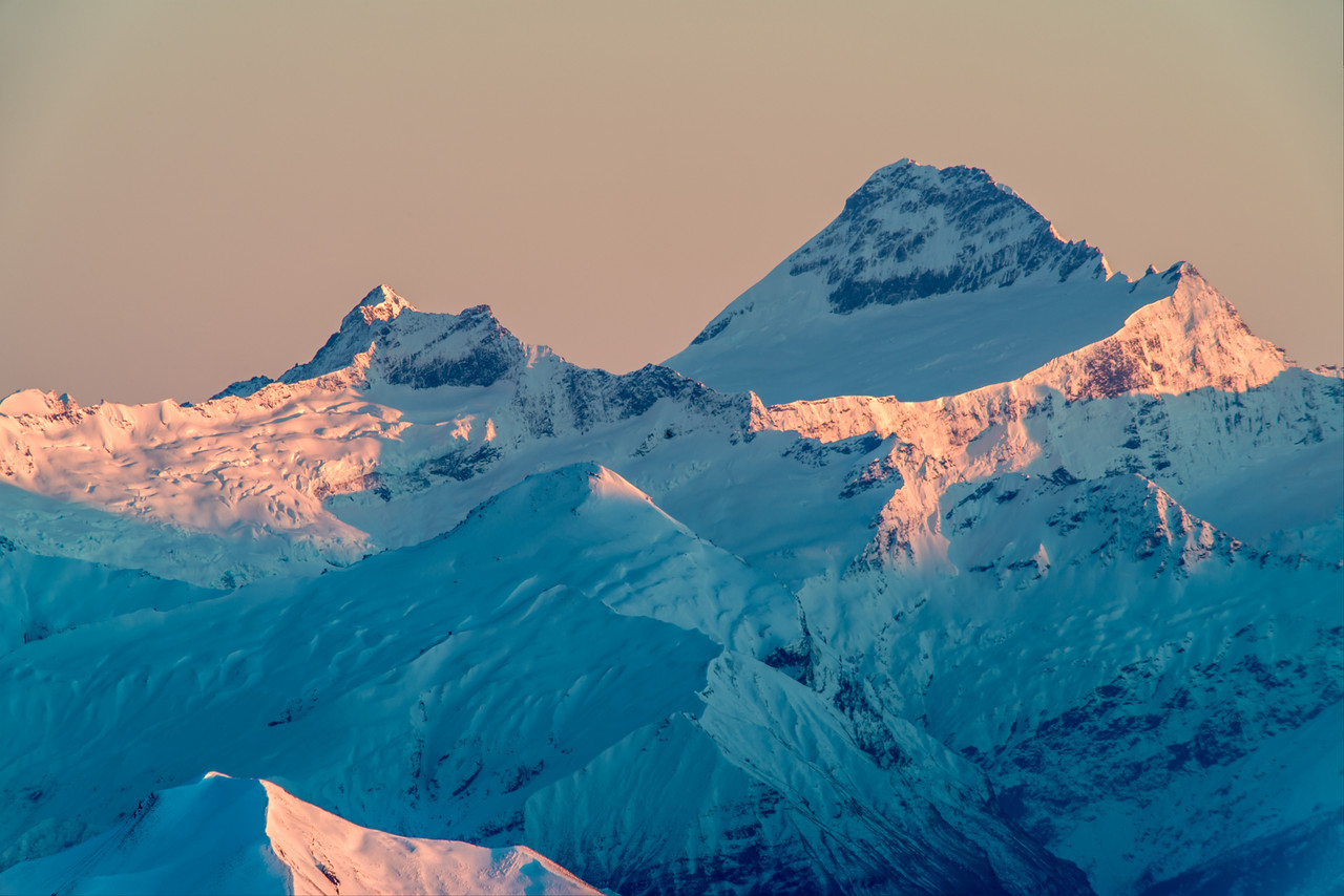 Mount Avalanche and Mount Aspiring from Mount Pisa