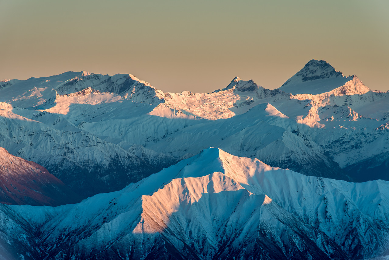 Rob Roy Peak, Mount Avalanche and Mount Aspiring from Mount Pisa