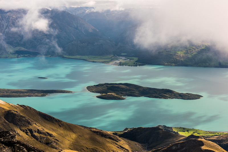 Pigeon Island / Wāwāhi Waka and the mouth of the Greenstone River from the summit of Major Peak