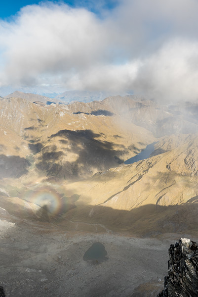 View into Luna Basin and Lake Luna from Major Peak, with brocken spectre.