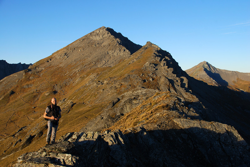 On Mount McIntosh. Black Peak (left) and Mount Buck (right) in the back