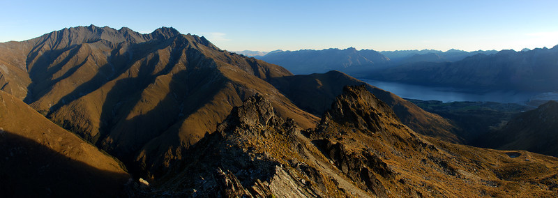 Panorama from the summit of Mount McIntosh. Mount Larkins on the far left