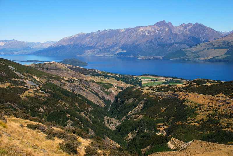 View down the lower Buckler Burn and Lake Wakatipu. Tooth Peak and the Greenstone River are right of centre image
