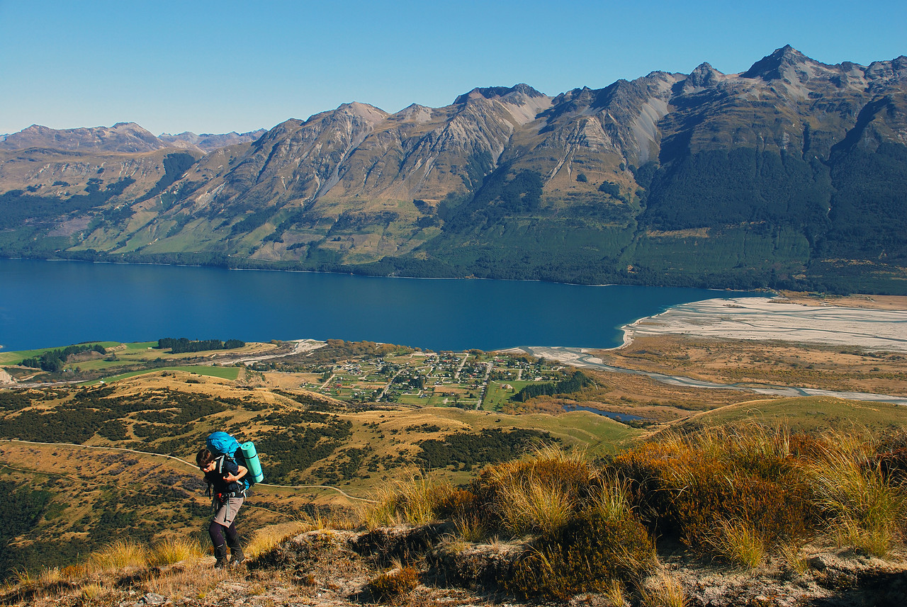 Climbing high above Glenorchy and Lake Wakatipu. Bold Peak on the far right