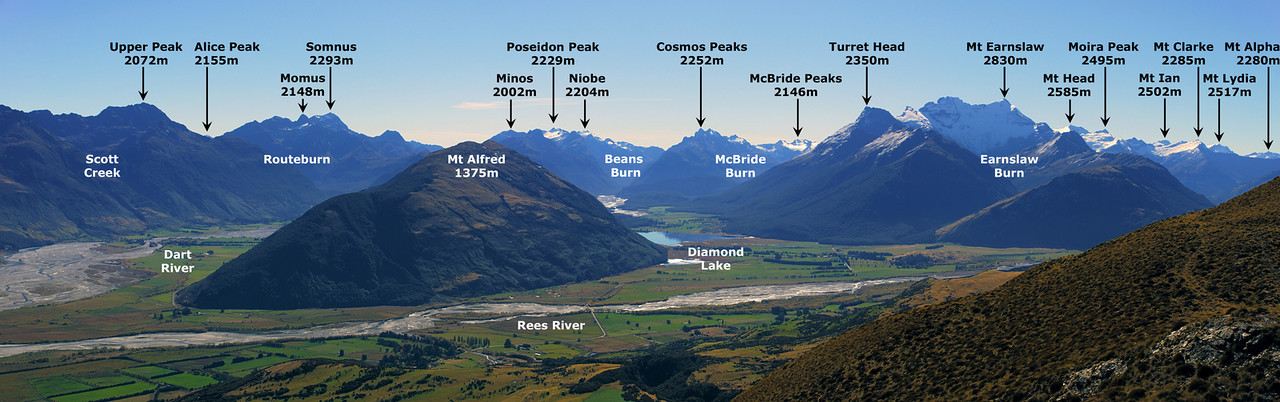 Panorama from pt 1203m: the mountains at the head of Lake Wakatipu