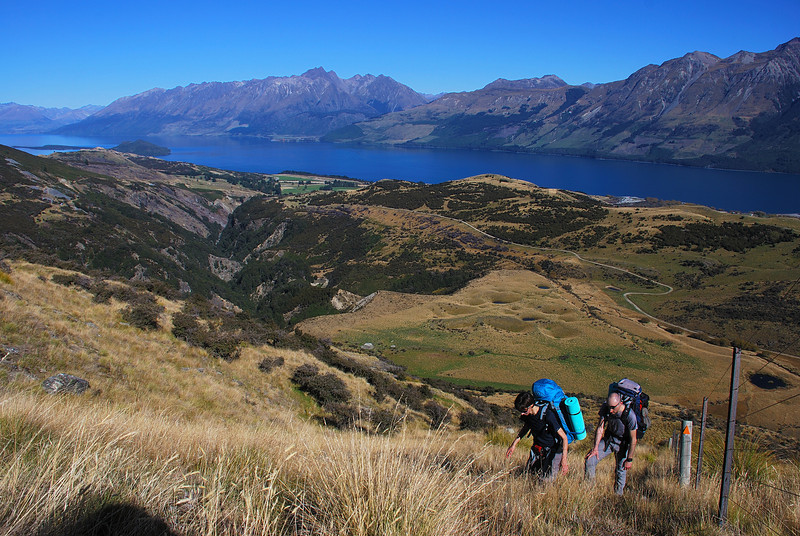 Climbing towards pt 1203m, with Lake Wakatipu in the background. Tooth Peak and the Greenstone River are just left of centre image