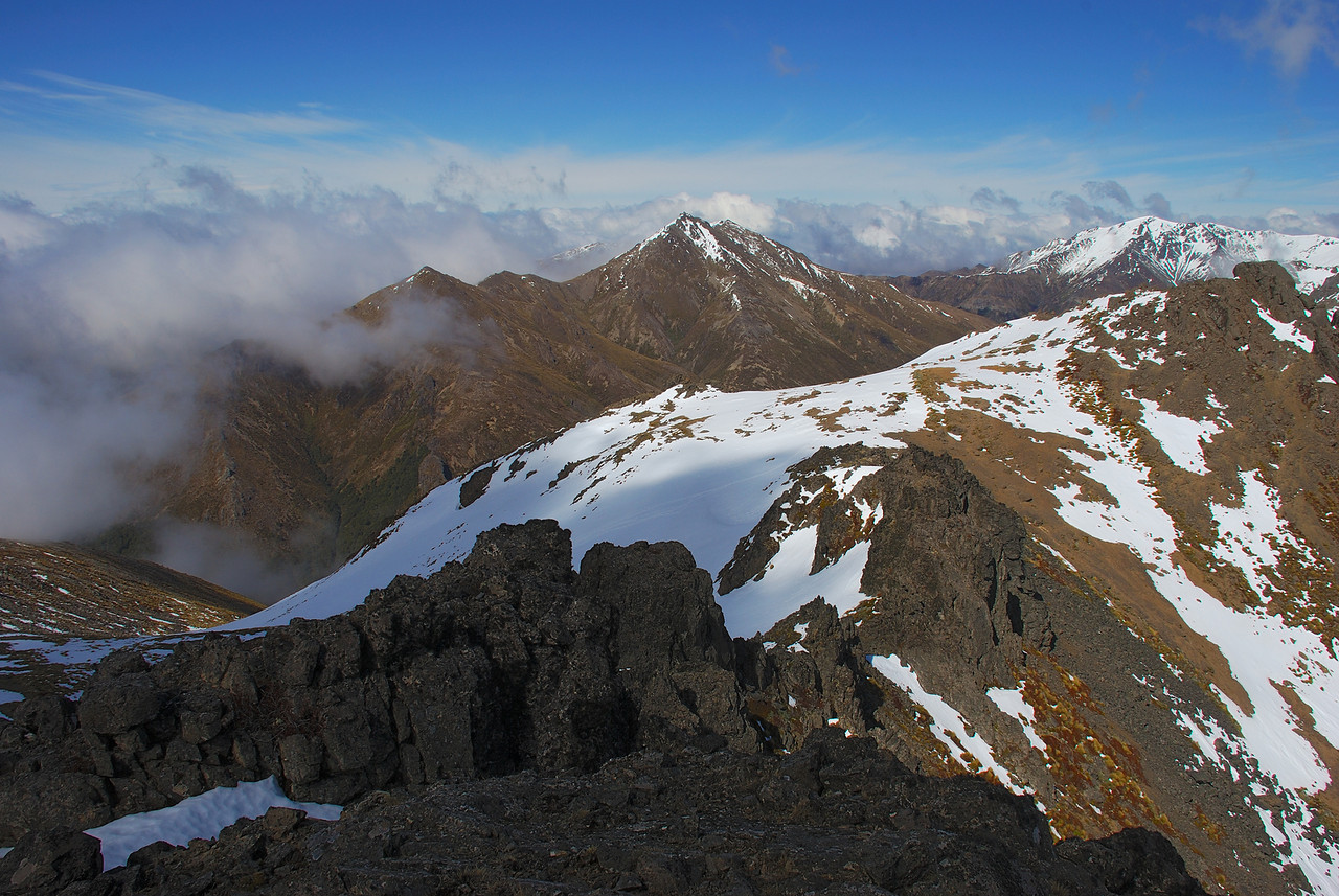The MacKinnon Peaks (1502m, centre image) and Telford Peak (1577m, right) from the McLean Peaks