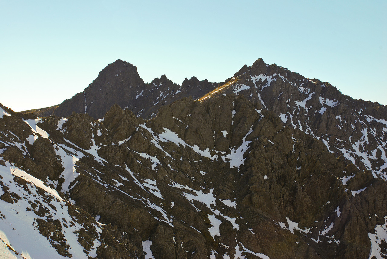 The McLean Peaks from the west. The high peak 1495m (left) and pt 1487m (right)